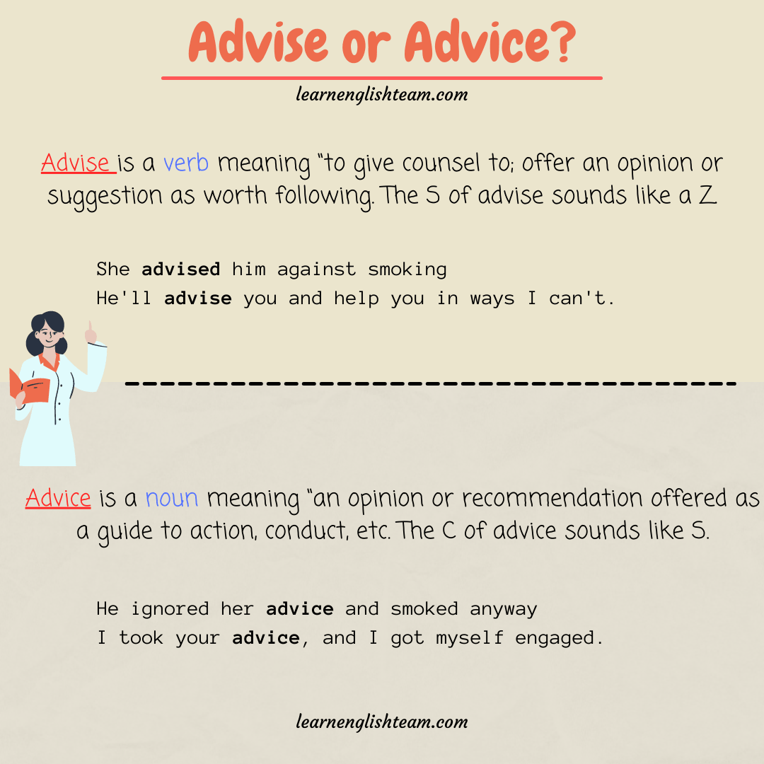 Advise - Advice difference